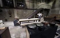 AFTER MISS JULIE   by Patrick Marber   after Strindberg   design: Patrick Burnier   lighting: Oliver Fenwick   director: Natalie Abrahami   stage   set   kitchen   staircase   Aga   stove   cooker...