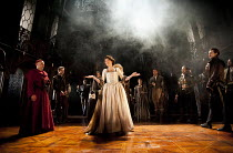 THE DUCHESS OF MALFI  by John Webster  design: Soutra Gilmour  lighting: James Farncombe  movement: Ann Yee  director: Jamie Lloyd ~front, l-r: Finbar Lynch (Cardinal of Aragon), Eve Best (The Duchess...