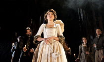 THE DUCHESS OF MALFI  by John Webster  design: Soutra Gilmour  lighting: James Farncombe  movement: Ann Yee  director: Jamie Lloyd ~Eve Best (The Duchess of Malfi)~Old Vic Theatre, London SE1  28/03/2...