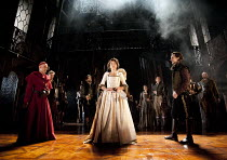 THE DUCHESS OF MALFI  by John Webster  design: Soutra Gilmour  lighting: James Farncombe  movement: Ann Yee  director: Jamie Lloyd ~front, l-r: Finbar Lynch (The Cardinal of Aragon), Eve Best (The Duc...