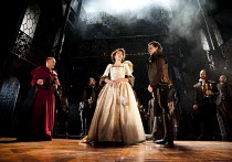 THE DUCHESS OF MALFI   by Webster   design: Soutra Gilmour   lighting: James Farncombe   director: Jamie Lloyd ~front l-r: Finbar Lynch (Cardinal of Aragon), Eve Best (Duchess of Malfi), Harry Lloyd (...