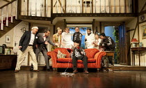 NOISES OFF   by Michael Frayn   design: Peter McKintosh   lighting: Paul Pyant   director: Lindsay Posner ~l-r: Jonathan Coy (Frederick Fellowes), Jamie Glover (Garry Lejeune), Janie Dee (Belinda Blai...