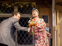 NOISES OFF   by Michael Frayn   design: Peter McKintosh   lighting: Paul Pyant   director: Lindsay Posner ~Jamie Glover (Garry Lejeune), Celia Imrie (Dotty Otley)~Old Vic Theatre 2011 production / Nov...