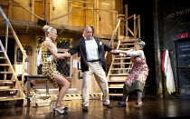 NOISES OFF   by Michael Frayn   design: Peter McKintosh   lighting: Paul Pyant   director: Lindsay Posner ~l-r: Janie Dee (Belinda Blair), Jonathan Coy (Frederick Fellowes), Celia Imrie (Dotty Otley)~...