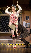 NOISES OFF   by Michael Frayn   design: Peter McKintosh   lighting: Paul Pyant   director: Lindsay Posner ~Celia Imrie (Dotty Otley)~Old Vic Theatre 2011 production / Novello Theatre, London WC2   03/...