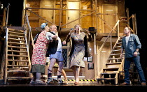 NOISES OFF   by Michael Frayn   design: Peter McKintosh   lighting: Paul Pyant   director: Lindsay Posner ~l-r: Celia Imrie (Dotty Otley), Jonathan Coy (Frederick Fellowes), Lucy Briggs-Owen (Brooke A...