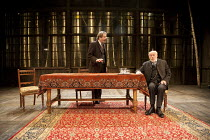 UNCLE VANYA   by Chekhov   translated by Michael Frayn   design: Peter McKintosh   lighting: Chahine Yavroyan   director: Jeremy Herrin ~l-r: Roger Allam (Vanya), Timothy West (Professor Serebryakov)~...