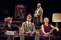 WHO'S AFRAID OF VIRGINIA WOOLF?   by Edward Albee   design: John Napier   lighting: Jenny Kagan   director: Howard Davies ~l-r: Diana Rigg (Martha), Lloyd Owen (Nick), David Suchet (George), Clare Hol...