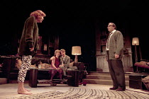 WHO'S AFRAID OF VIRGINIA WOOLF?   by Edward Albee   design: John Napier   lighting: Jenny Kagan   director: Howard Davies ~l-r: Diana Rigg (Martha), Clare Holman (Honey), Lloyd Owen (Nick), David Such...