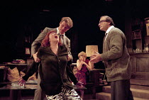 WHO'S AFRAID OF VIRGINIA WOOLF?   by Edward Albee   design: John Napier   lighting: Jenny Kagan   director: Howard Davies ~l-r: Diana Rigg (Martha), Lloyd Owen (Nick), Clare Holman (Honey), David Such...