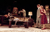 WHO'S AFRAID OF VIRGINIA WOOLF?   by Edward Albee   design: John Napier   lighting: Jenny Kagan   director: Howard Davies ~l-r: Diana Rigg (Martha), David Suchet (George), Lloyd Owen (Nick), Clare Hol...