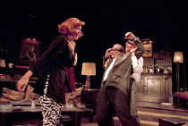 WHO'S AFRAID OF VIRGINIA WOOLF?   by Edward Albee   design: John Napier   lighting: Jenny Kagan   director: Howard Davies ~l-r: Diana Rigg (Martha), David Suchet (George), Lloyd Owen (Nick)~Almeida Th...