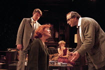 WHO'S AFRAID OF VIRGINIA WOOLF?   by Edward Albee   design: John Napier   lighting: Jenny Kagan   director: Howard Davies ~l-r: Lloyd Owen (Nick), Diana Rigg (Martha), Clare Holman (Honey), David Such...