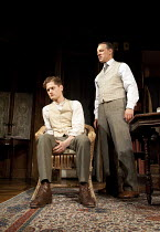 LONG DAY'S JOURNEY INTO NIGHT   by Eugene O'Neill   design: Lez Brotherston   lighting: Mark Henderson   director: Anthony Page ~l-r: Kyle Soller (Edmund Tyrone), Trevor White (James Tyrone, Jr)~Apoll...