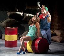THE COMEDY OF ERRORS   by Shakespeare   design: Jon Bausor   lighting: Jon Clark   director: Amir Nizar Zuabi ~III/i: Amie Burns Walker (Courtesan), Bruce MacKinnon (Dromio of Syracuse) ~part of 'What...