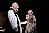 WRITTEN ON THE HEART  by David Edgar   design: Francis O'Connor   lighting: Tim Mitchell   director: Gregory Doran   Oliver Ford Davies (Lancelot Andrewes), Jodie McNee (Mary Currer)  Royal Shakesp...