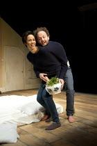 HERE   by Michael Frayn   design: Polly Sullivan   lighting: Mike Gunning   director: Lisa Spirling ~Zawe Ashton (Cath), Alex Beckett (Phil)~Rose Theatre Kingston / Surrey, England   27/04/2012