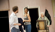 HERE   by Michael Frayn   design: Polly Sullivan   lighting: Mike Gunning   director: Lisa Spirling ~l-r: Alex Beckett (Phil), Zawe Ashton (Cath), Alison Steadman (Pat) ~Rose Theatre Kingston / Surrey...