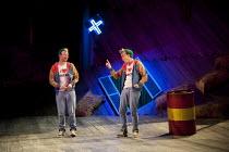 THE COMEDY OF ERRORS   by Shakespeare   design: Jon Bausor   lighting: Jon Clark   director: Amir Nizar Zuabi ~V/i - l-r: Felix Hayes (Dromio of Ephesus), Bruce MacKinnon (Dromio of Syracuse) ~part of...
