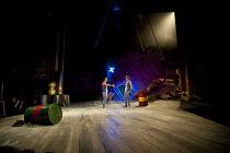 THE COMEDY OF ERRORS   by Shakespeare   design: Jon Bausor   lighting: Jon Clark   director: Amir Nizar Zuabi ~V/i - l-r: Felix Hayes (Dromio of Ephesus), Bruce MacKinnon (Dromio of Syracuse) on full...