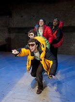 THE CONQUEST OF THE SOUTH POLE   by Manfred Karge   design: Hayden Griffin   lighting: Sherry Coenen   director: Stephen Unwin   from front: Andrew Gower (Seiffert), Sam Crane (Braukmann), O-T Fagben...