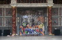 OTHELLO: THE REMIX   after Shakespeare   design: Scott Davies   creators & directors: GQ & JQ (The Q Brothers) ~scenic cloth,graffiti~Chicago Shakespeare Theater / Globe to Globe festival / Shakespear...