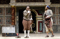 TWO GENTLEMEN OF VERONA   by Shakespeare ~~l-r: Denton Chikura (Julia), Tondera Munyevu (Lucetta) ~Two Gents Productions, Harare  / Globe to Globe festival / Shakespeare's Globe, London SE1   09/05/20...