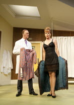 WHAT THE BUTLER SAW   by Joe Orton   design: Alice Power   lighting: Johanna Town   director: Sean Foley   Tim McInnerny (Dr Prentice), Samantha Bond (Mrs Prentice)  Vaudeville Theatre, London WC2...