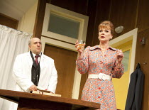WHAT THE BUTLER SAW   by Joe Orton   design: Alice Power   lighting: Johanna Town   director: Sean Foley ~Omid Djalili (Dr Rance), Samantha Bond (Mrs Prentice)~Vaudeville Theatre, London WC2   16/05/2...