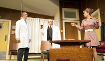 WHAT THE BUTLER SAW   by Joe Orton   design: Alice Power   lighting: Johanna Town   director: Sean Foley   l-r: Tim McInnerny (Dr Prentice), Omid Djalili (Dr Rance), Samantha Bond (Mrs Prentice) Vau...