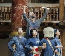 CORIOLANUS   by Shakespeare   costumes: Kyoko Domoto   director: Motoi Miura ~rear, top: Dai Ishida (Coriolanus)   front, l-r (Chorus): Saki Kohno, Satoko Abe, Yohei Kobayashi, Shie Kubota ~Chiten The...