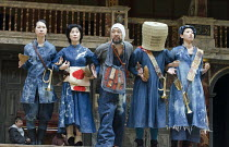 CORIOLANUS   by Shakespeare   costumes: Kyoko Domoto   director: Motoi Miura ~l-r: Saki Kohno (Chorus), Satoko Abe (Chorus), Dai Ishida (Coriolanus), Yohei Kobayashi (Chorus), Shie Kubota (Chorus) ~Ch...