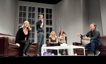 6 ACTORS IN SEARCH OF A DIRECTOR   written & directed by Steven Berkoff   design: Nigel Hook   lighting: Mike Robertson ~l-r: Sarah Chamberlain (Debra), Paul Trussell (Alan), Andree Bernard (Eve), Rut...