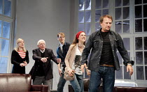 6 ACTORS IN SEARCH OF A DIRECTOR   written & directed by Steven Berkoff   design: Nigel Hook   lighting: Mike Robertson ~l-r: Sarah Chamberlain (Debra), Philip Voss (Charles), Paul Trussell (Alan), Ru...