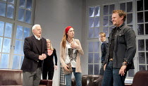 6 ACTORS IN SEARCH OF A DIRECTOR   written & directed by Steven Berkoff   design: Nigel Hook   lighting: Mike Robertson ~l-r: Philip Voss (Charles), Andree Bernard (Eve), Ruth Everett (Francis), Paul...
