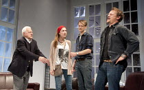 6 ACTORS IN SEARCH OF A DIRECTOR   written & directed by Steven Berkoff   design: Nigel Hook   lighting: Mike Robertson ~l-r: Philip Voss (Charles), Ruth Everett (Francis), Paul Trussell (Alan), Neil...