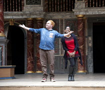 LOVE'S LABOUR'S LOST   by Shakespeare ~Stephen Collins (King of Navarre), Nadia Nadarajah (Princess of France)~Deafinitely Theatre Company, UK /  / Globe to Globe festival / Shakespeare's Globe, Londo...