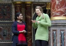 LOVE'S LABOUR'S LOST   by Shakespeare ~l-r: Nadia Nadarajah (Princess of France), Charlotte Arrowsmith (Rosalind)~Deafinitely Theatre Company, UK /  / Globe to Globe festival / Shakespeare's Globe, Lo...