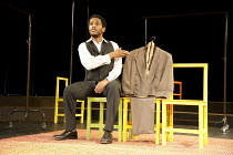 Jared McNeill in THE SUIT at The Young Vic, London SE1  23/05/2012  after Can Themba, Mothobi Mutloatse & Barney Simon  adapted & directed by Peter Brook & Marie-Helene Estienne  music: Frank Krwczyk...