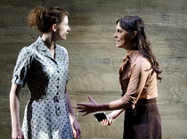 ANTIGONE   by Sophocles   in a version by Don Taylor   design: Soutra Gilmour   lighting: Mark Henderson   director: Polly Findlay ~l-r: Jodie Whittaker (Antigone), Annabel Scholey (Ismene) ~Olivier T...