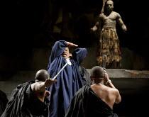 JULIUS CAESAR   by Shakespeare   design: Michael Vale   lighting: Vince Herbert   director: Gregory Doran   the assassins strike: Jeffery Kissoon (Julius Caesar) with (top right) Theo Ogundipe (A Soo...