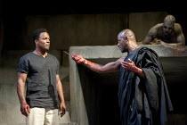 JULIUS CAESAR   by Shakespeare   design: Michael Vale   lighting: Vince Herbert   director: Gregory Doran   l-r: Ray Fearon (Mark Antony), Paterson Joseph (Marcus Brutus), (top right) Theo Ogundipe (...