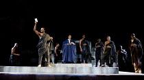 JULIUS CAESAR   by Shakespeare   design: Michael Vale   lighting: Vince Herbert   director: Gregory Doran   l-r: Paterson Joseph (Marcus Brutus), Mark Theodore (Metellus Cimber), Ray Fearon (Mark Ant...