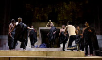 JULIUS CAESAR   by Shakespeare   design: Michael Vale   lighting: Vince Herbert   director: Gregory Doran   the assassins, l-r: Joseph Mydell (Casca), Andrew French (Decius Brutus), Paterson Joseph (...
