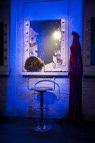TORCH SONG TRILOGY   by Harvey Fierstein   design: Soutra Gilmour   lighting: Paul Anderson   director: Douglas Hodge  dressing room,mirror,wig,lights Menier Chocolate Factory, London SE1   12/06/20...