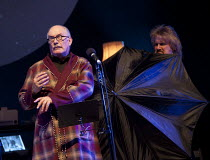 THE HITCHHIKER'S GUIDE TO THE GALAXY RADIO SHOW   based on the novels by Douglas Adams   written, adapted & directed by Dirk Maggs   design: Ben M Rogers   l-r: Simon Jones (Arthur Dent), Dirk Maggs...