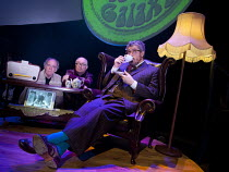 THE HITCHHIKER'S GUIDE TO THE GALAXY RADIO SHOW   based on the novels by Douglas Adams   written, adapted & directed by Dirk Maggs   design: Ben M Rogers   l-r: Geoff McGivern (Ford Prefect), Simon J...