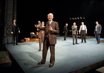 DEMOCRACY   by Michael Frayn   design: Simon Daw   lighting: Mark Doubleday   director: Paul Miller   awaiting election results - centre (front): William Hoyland (Herbert Wehner), (behind him) Aidan...