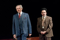 DEMOCRACY   by Michael Frayn   design: Simon Daw   lighting: Mark Doubleday   director: Paul Miller ~l-r: Patrick Drury (Willy Brandt), Aidan McArdle (Gunter Guillaume) ~Sheffield Theatres production...