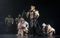 CYMBELINE   by Shakespeare   set design: Tsukasa Nakagoshi   costumes: Nobuko Miyamoto   lighting: Jiro Katsushiba   director: Yukio Ninagawa ~l-r: Tetsuroh Sagawa (Belarius), Kohtaloh Yoshida (Cymbel...
